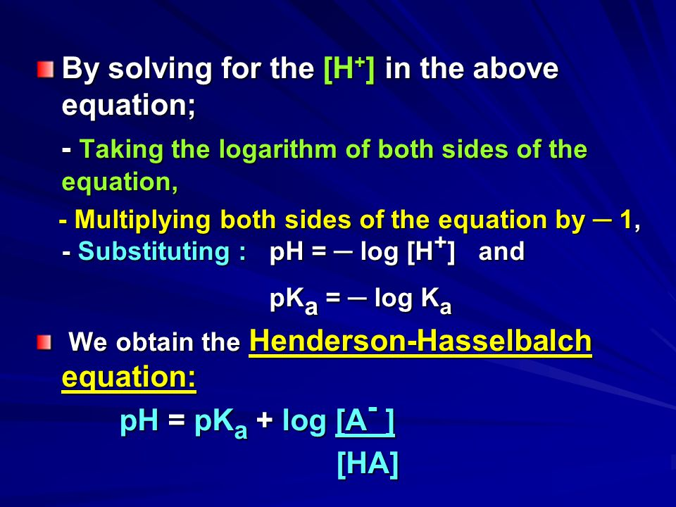 By solving for the [H+] in the above equation;
